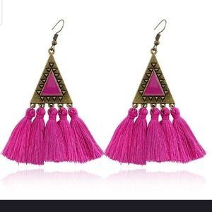 Jewelry - Beautiful fushia Bohemian tassle earrings
